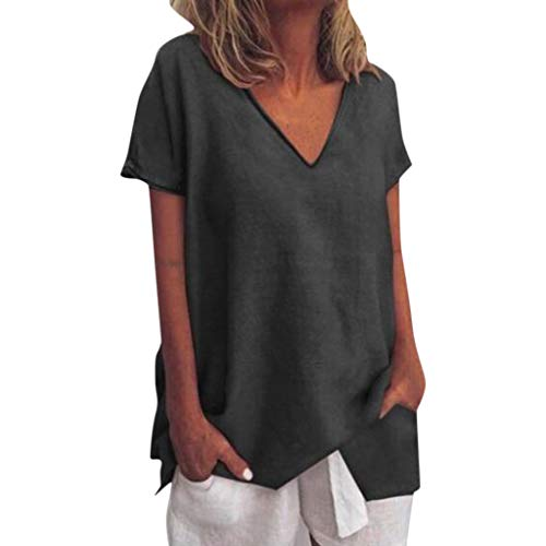 Tantisy ♣↭♣ Womens Tops Summer V-Neck Short Sleeve Solid Tee Fashion Swing Casual Flowy Loose Blouses Black]()