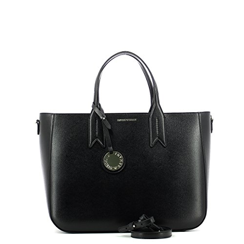 Black Armani Noir texturé Leather Bag Tote Emporio Frida xO1w8aqf