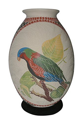 Cindy Perez Authentic Mata Ortiz Pottery - Parrot & Hummingbird Pot - Genuine Hand Coiled