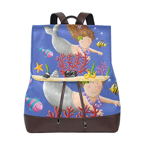 DAOPUDA Leather Backpack Alarm Clock Illustration Earth Hour Save Lightweight Travel Bag Hiking Knapsack Student School Bookbag Daypack for men women ()