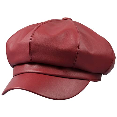(Sportmusies 8 Panels Newsboy Caps for Women, PU Leather Cabbie Painter Hat Gatsby Ivy Beret Cap, Red)