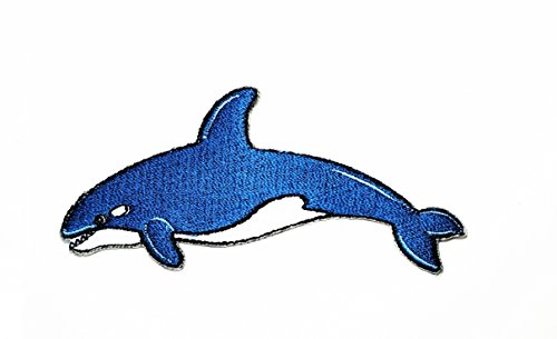 Shark Week Costume Diy (Blue shark sea creature cartoon kids Cartoon Movie patch Kid Baby Boy Jacket T Shirt Patch Sew Iron on Embroidered Symbol Badge Cloth Sign Costume)