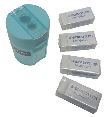 Staedtler Double-Hole Tub Sharpener & 4pcs Rasoplast B30 Staedtler Eraser (Eraser Tub)