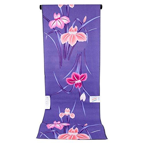 テニス相互接続山積みの浴衣反物 レディース -78- 綿100% 花柄 ラメ 紫 藤紫 薄紫 菖蒲 日本製