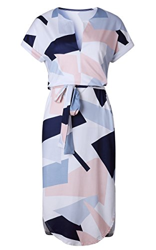 Womens Belted Dresses Floral White Summer Casual ECOWISH Geometric Dress Neck V Pattern Print dOvxY