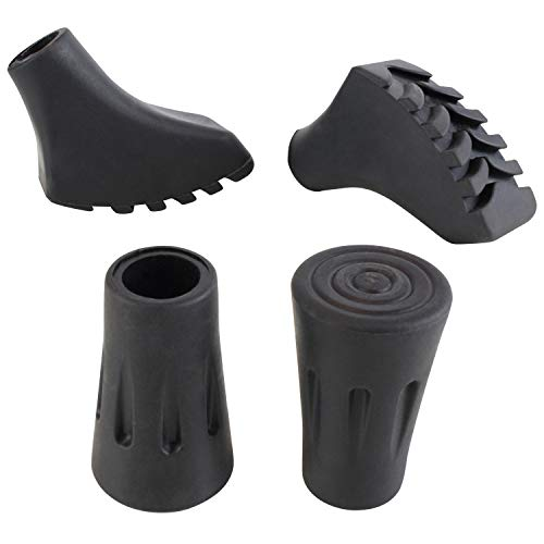 Vive Trekking Pole Tips (4 Pack) - 1/2 Inch Replacement Rubber Hiking Cane Feet Protectors for Walking Sticks - Shock Absorbing Grip & Traction Stability for Snow, Ice, Rocks & Gravel Pavement