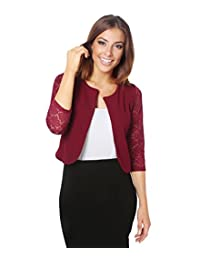 KRISP Womens 3/4 Lace Sleeve Slim Casual Bolero Cropped Evening Shrug Cardigan