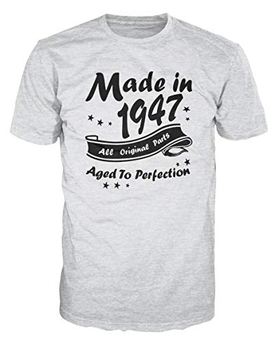 - Made in 1947 All Original Parts Funny Birthday T-Shirt (M, Ash Grey)