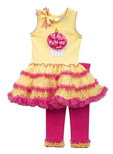 Rare Editions Little Girls' Yellow Pink CUPCAKE Applique Tutu Dress Leggings set, 4T