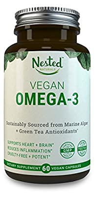 VEGAN OMEGA-3 - DHA 200mg + EPA 100mg + Green Tea Extract for Antioxidant Protection | Cruelty-Free, Sustainably Sourced Algal Oil | Boost Brain, Eyes & Cardiovascular Health | Vegan Capsules