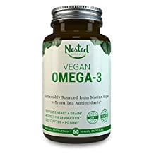 VEGAN OMEGA 3 | 60 Capsules | Sustainable Algal Oil DHA + EPA and Green Tea Extract for Antioxidant Protection | Boost Brain, Eyes & Supplements Cardiovascular Health | Vegetarian Fish Oil Supplement