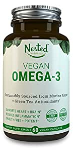 VEGAN OMEGA 3   60 Capsules   Sustainable Algal Oil DHA + EPA and Green Tea Extract for Antioxidant Protection   Boost Brain, Eyes & Supplements Cardiovascular Health   Vegetarian Fish Oil Supplement