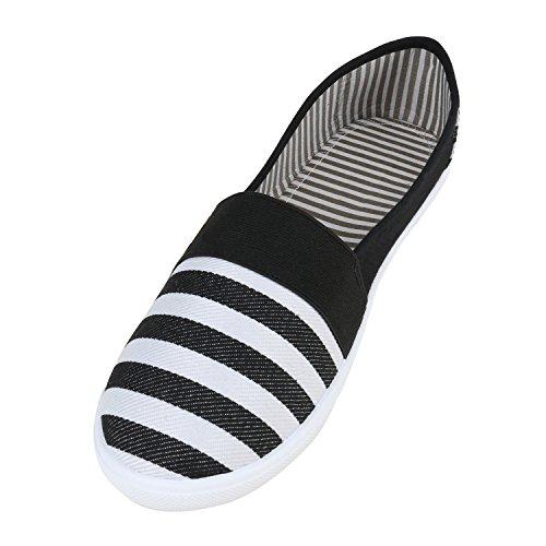 Trendy Damen Ballerinas Sportliche Ballerina Schuhe Stoffschuhe Flats Übergrößen Glitzer Slippers Slip-Ons Flandell Schwarz Weiss