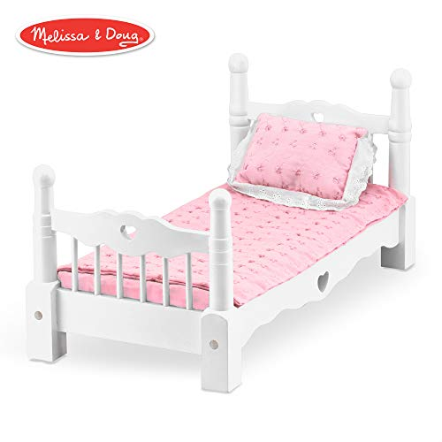 Melissa & Doug White Wooden Doll Bed With Bedding, 24 x 12 x -