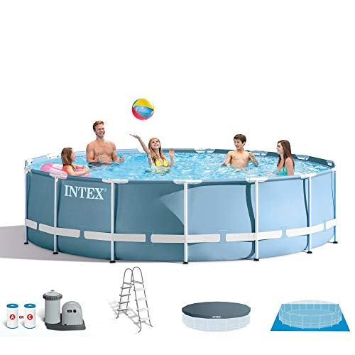 Intex 18ft X 48in Prism Frame Pool Set with Filter Pump, Ladder, Ground Cloth & Pool Cover ()