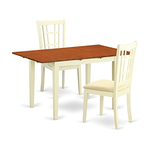 East West Furniture NONI3-WHI-C 3 Piece Dinette Table and 2 Chairs Set