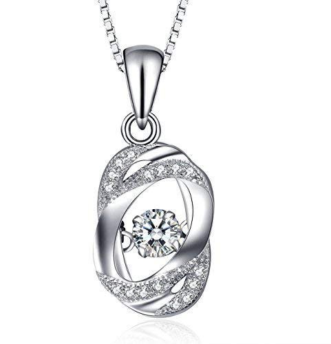 J.Vénus Damen Schmuck, Kette Damen Silber Halskette 925 Sterling Silber Zirkonia Herz Anhänger \