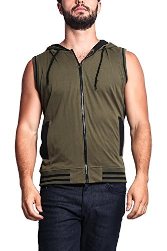 - Lightweight Sleeveless Contrast Hoodie TH890 - OLIVE/BLACK - Small - A1H