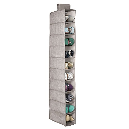 mDesign Soft Fabric Closet Organizer - Holds Shoes Handbags, Clutches, Accessories - 10 Shelves in Each Over Rod Hanging Storage Unit - Pack of 2, Textured Print, Solid Trim in Linen by mDesign (Image #4)