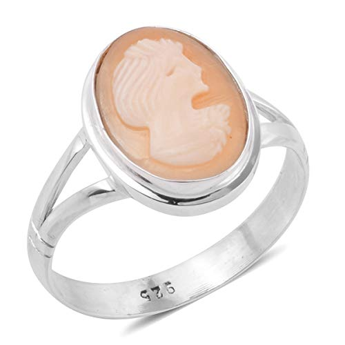 925 Sterling Silver Oval Cameo Cameo Fashion Ring For Women Size 8
