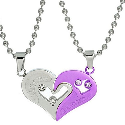 teel Bead Chain Necklace with Pendant I Love You Puzzle Matching, Gift Ideas for Him/Her (9 clolors to choose) SN102-PURPLE (Titanium Puzzle)
