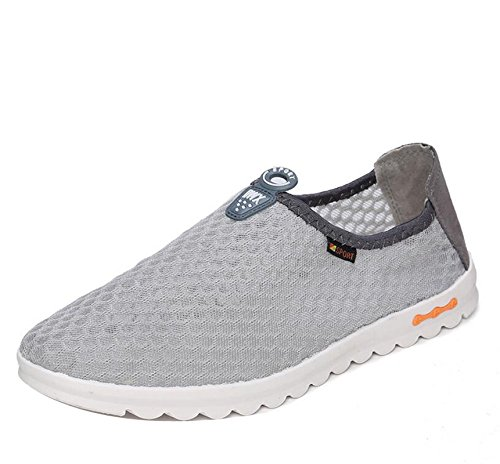 Gaorui men's breathable mesh slip on trainers sports running aqua shoes walk athletic sneakers loafers Grey