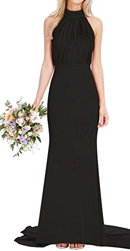 AiniDress Bridal Dress Fishtail Dresses Neck Maxi Long Black Wedding Halter Bridesmaid Prom BOqv0wU