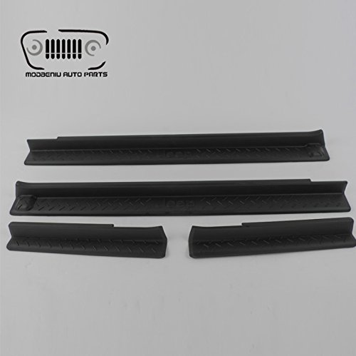 Negro puerta Sills Cover Pad panel Scuff Plate Kick Paso proteger para Geep Wrangler JK FSJY Co. Ltd