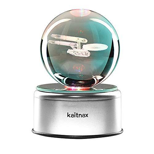 3D Cool Laser Etching Crystal Ball Night Light Gift Lamp for Kids Children Christmas (Star Trek) (Christmas Trek Gifts Star)