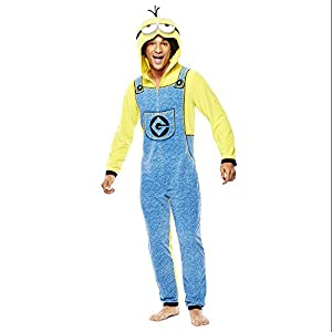 Briefly Stated Men's Minion Microfleece Onesie, Yellow, Large