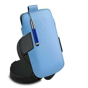 ONX3 Nokia Asha 503 Leather Slip cuerda del tirón de la PU de protección en la bolsa con el caso de Quick Release, 360 que gira la horquilla del parabrisas del coche y mini capacitivo Retractabletylus Pen (Baby Blue)