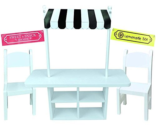 18 Inch Doll Concession Table Painted White, 2 White Chairs & 3 Interchangeable Signs/2 Removable Poles, Perfect for American Girl Doll Furniture & More! Doll Table & Chair Set/Concession Stand