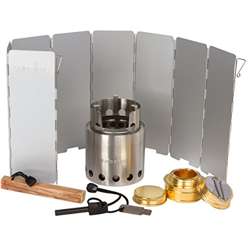 Solo Stove Pro Camping Stove Kit - Includes Solo Stove, Windscreen, Solo Alcohol Burner, Swedish FireSteel, Tinder-on-a-Rope. Great for Backpacking, Survival, Emergency Preparation.