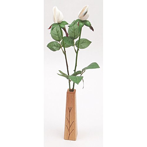 17th Wedding Anniversary gift 2-stem shell roses with vase