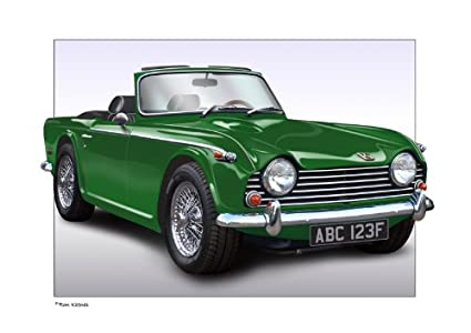 Triumph Tr4 Tr5 Classic Car Print Of Your Car With Your Number