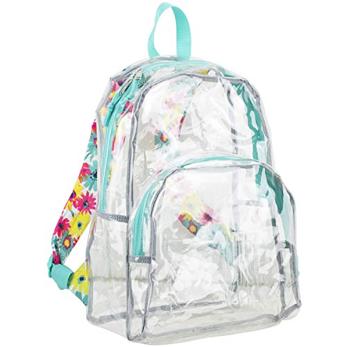 Eastsport Clear Backpack, Fully Transparent with Padded Straps, Clear/Turquoise/Watercolor Floral Print