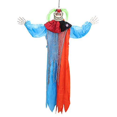 Halloween Haunters 4 Foot Hanging Circus Clown with Blue and Red Clothing Prop Decoration - 1/3 Life-Size Scale Scary Face and Fat Neck and Neon Green Hair - Fun Entryway Display -