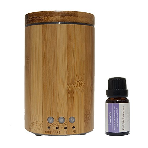 Real Bamboo Wood Ultrasonic Aromatherapy Essential Oil Diffuser and Humidifier Bundle with 10ml Therapeutic Grade Lavender Essential Oil