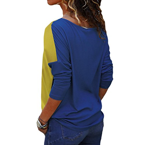 Bloc Manches Femmes T BringBing Shirt Bleu Chemisier Top Longues Casual Patchwork Couleur Blouse Mode qXHpTSwS