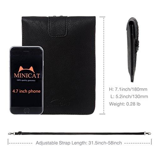 MINICAT Women Hollow Texture Series Crossbody Bag Cell Phone Purse Wallet(Black)
