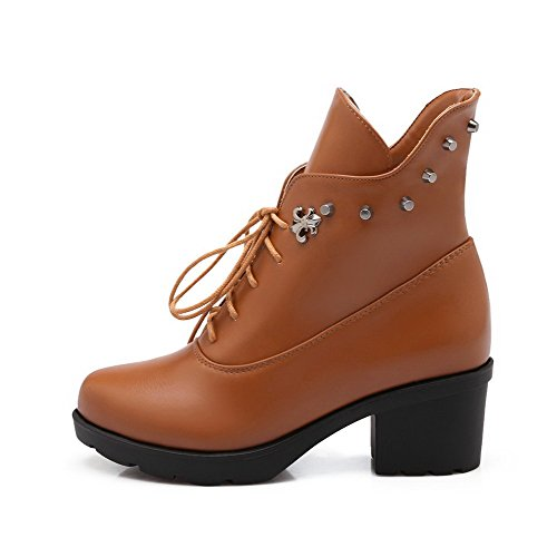 Lace Toe Kitten Brown up Allhqfashion Solid Material Soft Closed Boots Heels Round Women's Yww4z