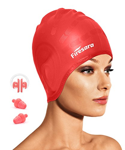 Swimming Cap for Long Hair, Firesara Waterproof Silicone Swim Cap for Dreadlocks or Short Hair for Adult Men Women Youth Kids Child Keeps Hair Clean Ear Dry with Nose Clip and Ear Plugs