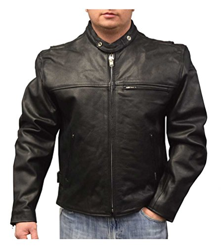 Redline Mens Lightweight Zip Out Liner Cowhide Leather Jacket, Black M-300 (4XL)