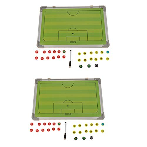 SM SunniMix 2 Set Premium Soccer Coaching Board, Football Magnetic Double-Sided Dry-Erase Clipboard with Magnets, Included Marker & Pen