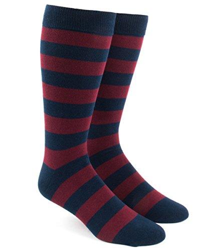 Herringbone Stripe Socks - The Tie Bar Super Stripe Burgundy Cotton Blend Dress Socks