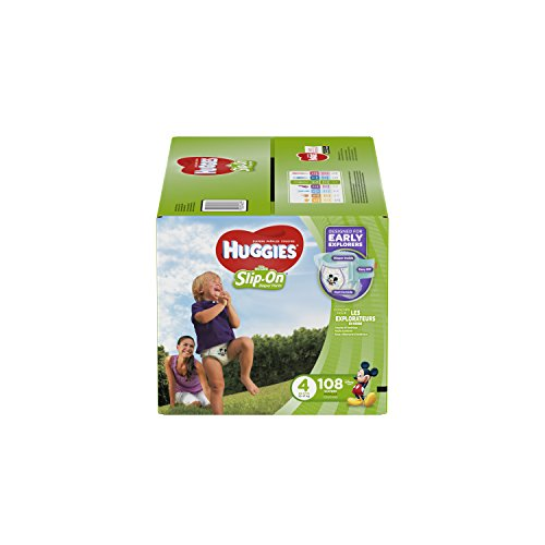 HUGGIES Little Movers Slip On Diaper Pants, Size 4, 108 Count, GIANT PACK (Packaging May Vary) by HUGGIES