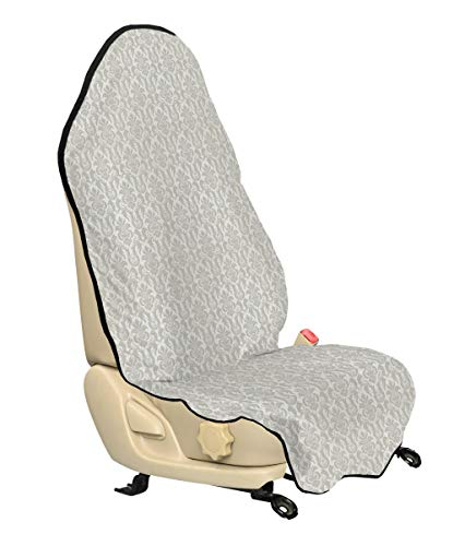 Lunarable Damask Car Seat Cover, Floral Swirl Pattern in Oriental Cultural Rococo Style Illustration in Soft Color, Car and Truck Seat Cover Protector with Nonslip Backing Universal Fit, Coconut White