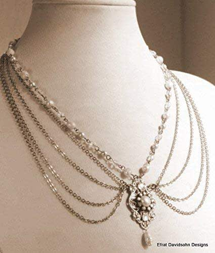 Amazon Com Bridal Necklace Silver Chains Victorian