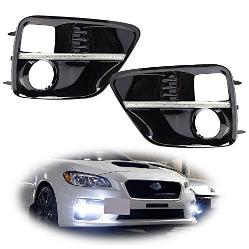 - iJDMTOY Xenon White LED Daytime Running Lights For 2015-2017 Subaru WRX/STi w/JDM Style Piano Black Finish Fog Lamp Bezels