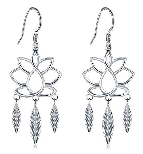 925 Sterling Silver Earrings, BoRuo Lotus Flower Yoga Leaf Drop ()